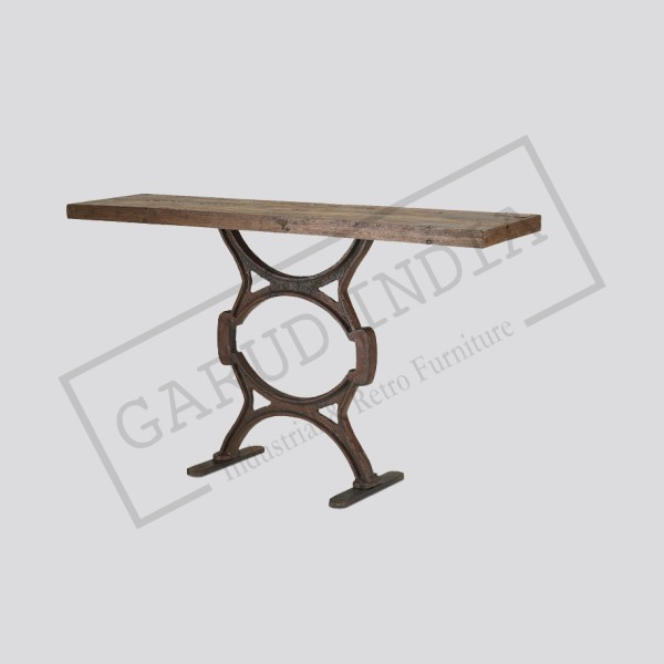 Industrial wood & iron console table