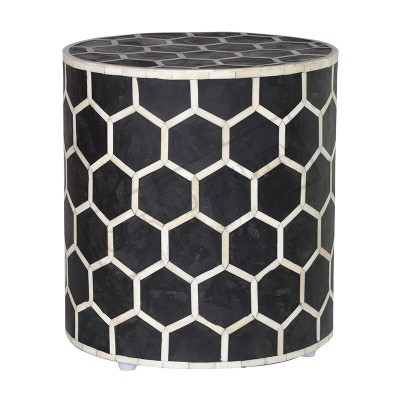 Black & White Bone Inlay Honeycomb Stool