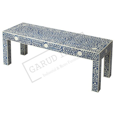 Blue Bone Inlay Bench
