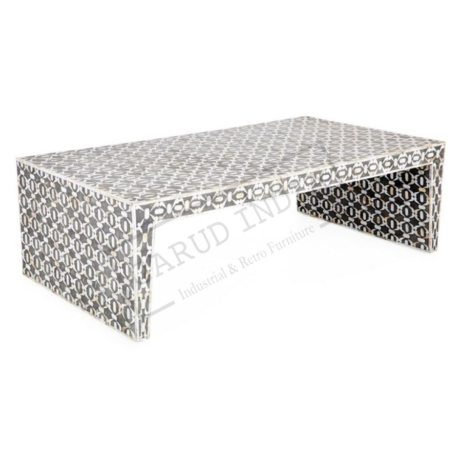 bone inlay coffee table. Black Bedroom Furniture Sets. Home Design Ideas