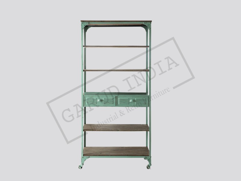 Classic Metal And Wood Bookcase