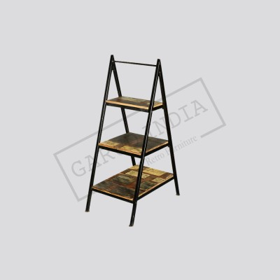 Industrial Metal And Wooden Ladder Shelf