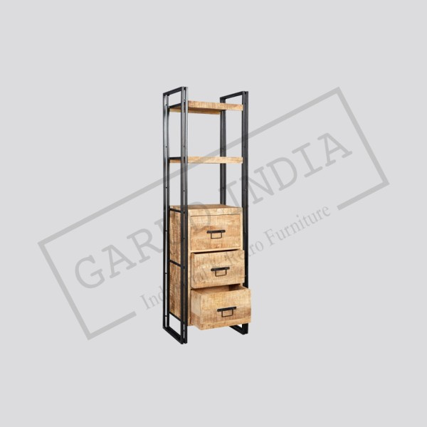 Industrial Reclaimed Wood And Metal Slim Open Bookcase