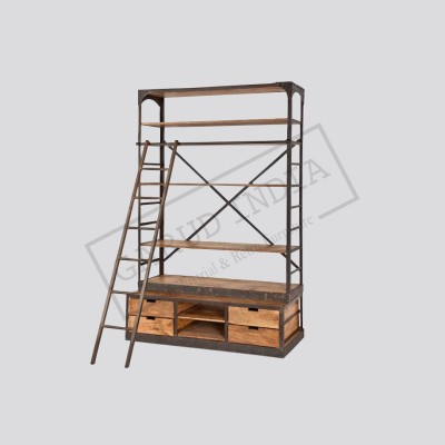 Industrial bookshelf with ladder