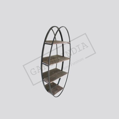 Industrial metal round wall shelf