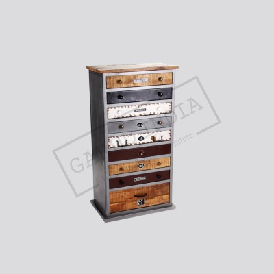 Industrial 9 drawer wood cabinet