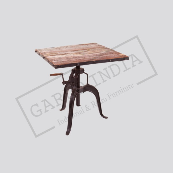 Industrial reclaimed wood square crank table