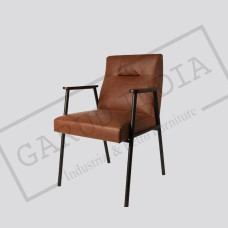 Industrial leather and metal armchair