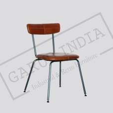Industrial cafe leather chair