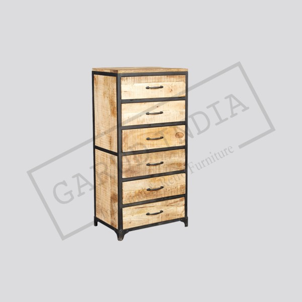Industrial vintage tall chest of drawers