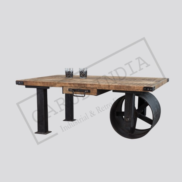 Industrial style iron cart coffee table
