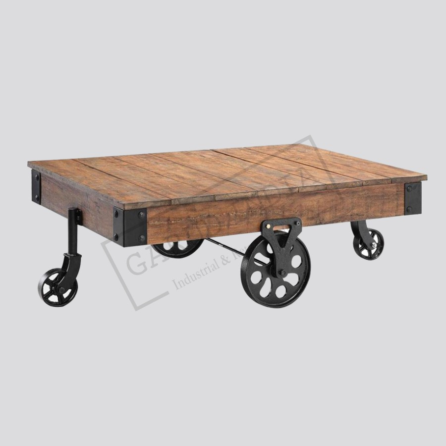 Wheel cart coffee table industrial wheel cart coffee table geotapseo Choice Image
