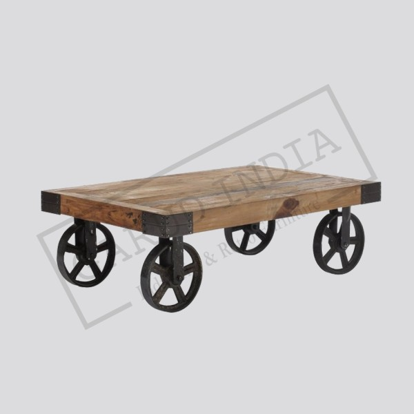 Industrial coffee table with wheels