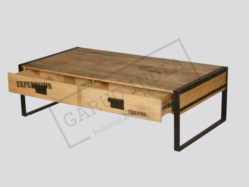 Iron coffee table with drawers