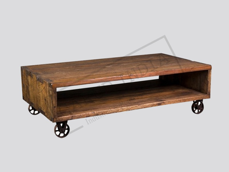 Industrial cube cart coffee table