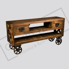 Industrial cart console table with drawers