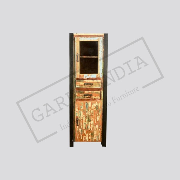 Industrial Reclaimed Wood & Iron Cabinet