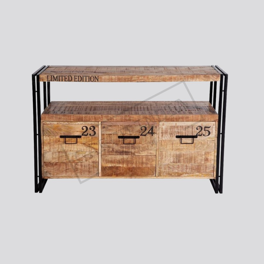 Sideboard Industrial reclaimed wood and metal sideboard