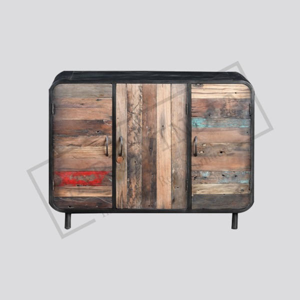 Recycled wood and metal 3 door sideboard