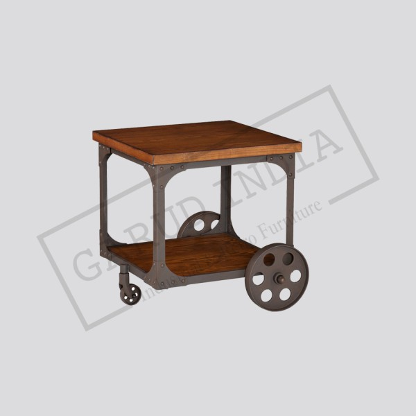Industrial accent table with wheel