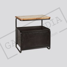 Industrial loft iron reclaimed wood locker side table