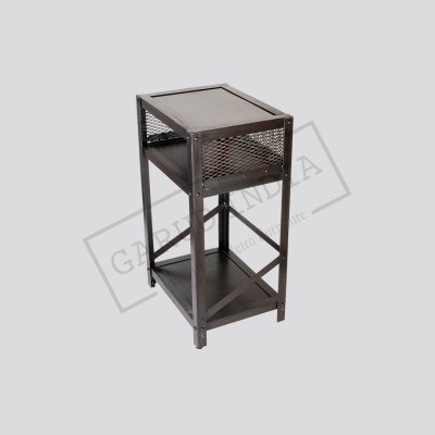 Industrial metal end table
