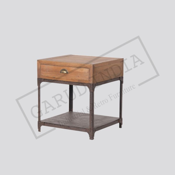 Industrial rustic bedside table
