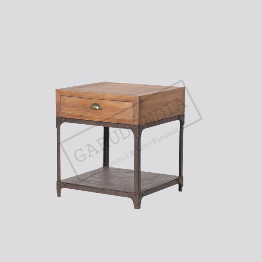 Industrial rustic bedside table for Rustic industrial end table