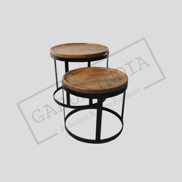 Industrial tray table set of 2