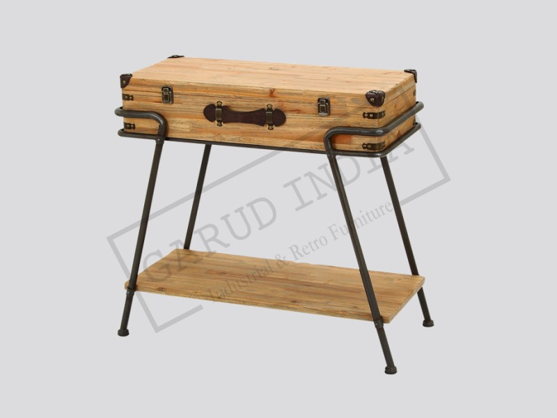 Woodland imports metal wood chest table