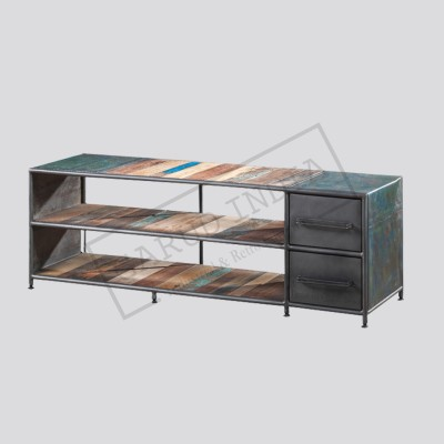 Industrial double drawer tv stand