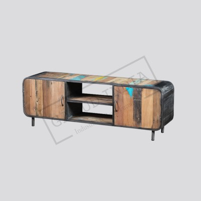 Industrial wood and metal tv unit