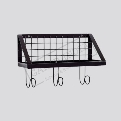 Industrial Metal Shelf With Hooks Coat