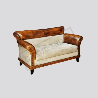 2 seater canvas leather sofa