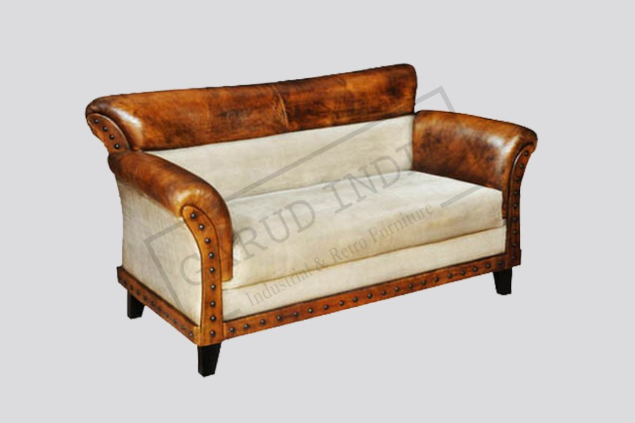 Leather canvas sofa