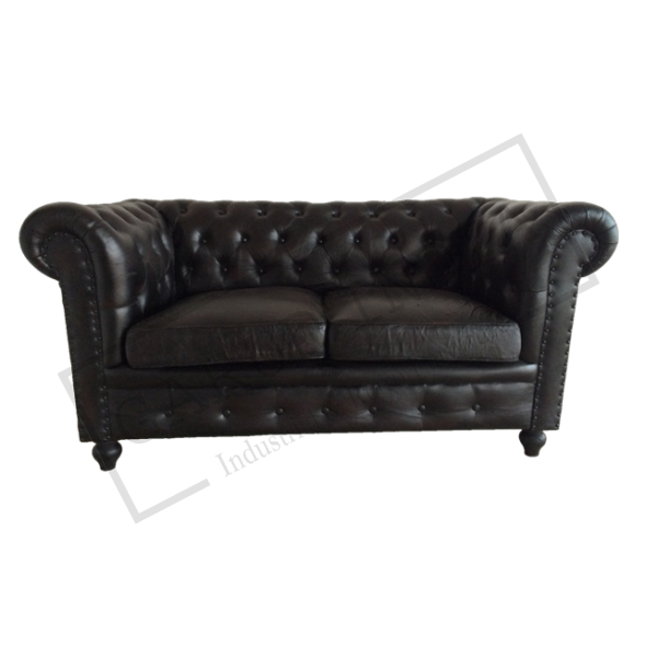 Black Chesterfield 2 Seater Sofa