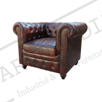 Dark Brown Chesterfield 1 Seater Sofa