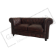Dark Brown Chesterfield 2 Seater Sofa