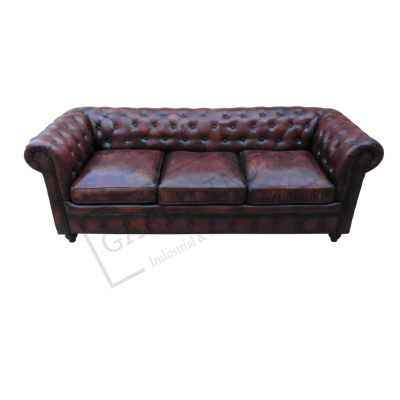 Dark Brown Chesterfield 3 Seater Sofa