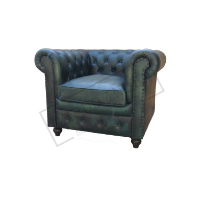 Green Chesterfield 1 Seater Sofa
