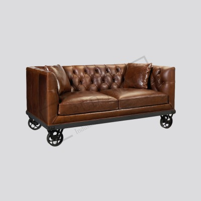 Industrial Leather sofa with Wheels