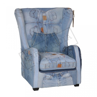 Recycled Denim Levi Jeans Arm Chair