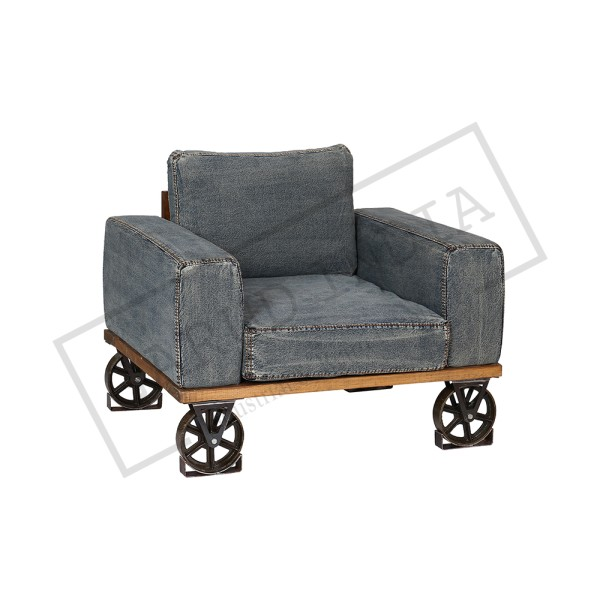 Recycled Denim One Seater Sofa