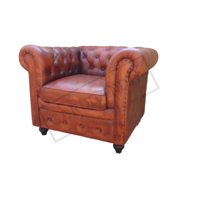 TAN Chesterfield 1 Seater Sofa