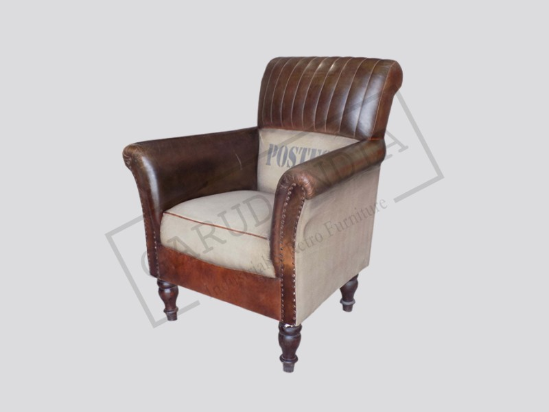 Wooden Canvas Leather Chair
