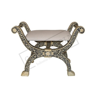 Bone Inlay Side Rest Stool