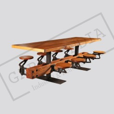 Industrial Cast Iron, Steel & Wood Swing Out Seat Dining Table