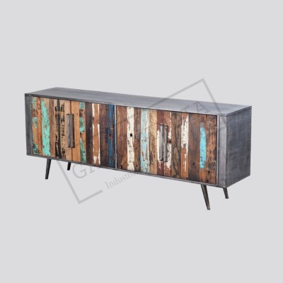 Industrial  reclaimed wood Tv Unit