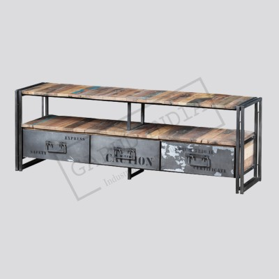 Recycled Boat Wood and Industrial Metal 3-Drawer Tv unit