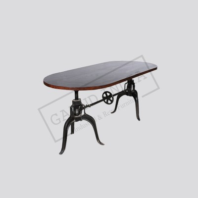 Industrial crank Oval Top dining table